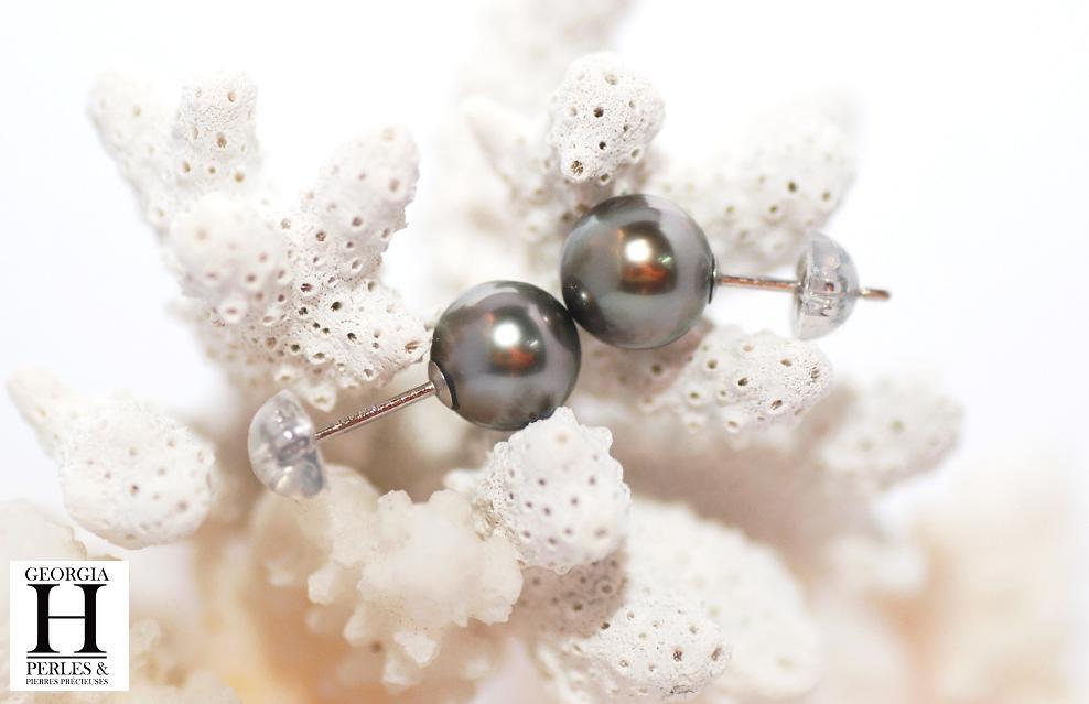 Boutons d\'oreilles 2 perles de Tahiti 8mm