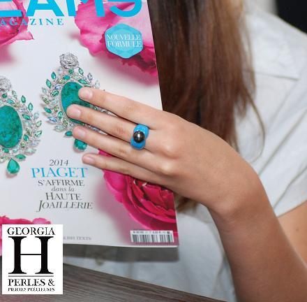 Bague Double-Coeur bleu et perle de tahiti