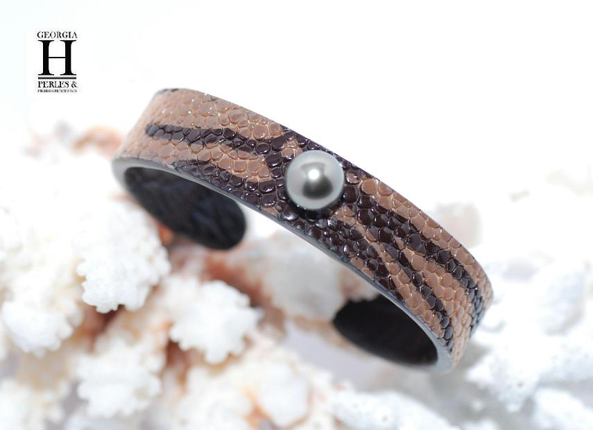Bracelet Africa galuchat zébré et 1 perle de Tahiti
