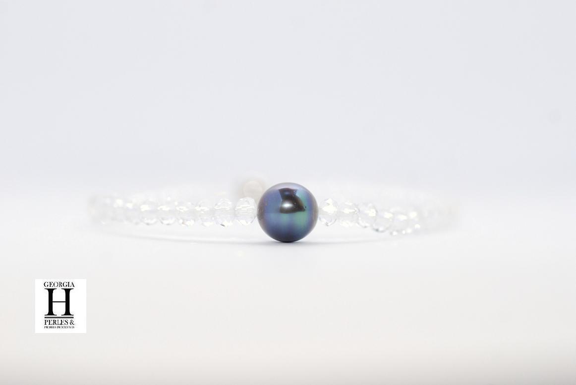 Bracelet Manhattan Cristaux transparents et perle de Tahiti bleu