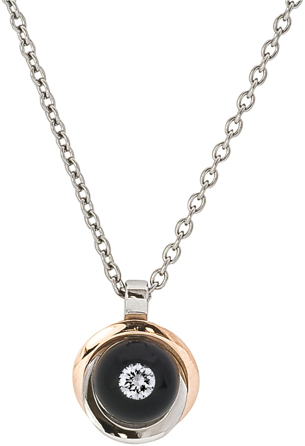 Pendentif bouton de fleur, diamant flottant dans 1 perle de verre, en or rose et acier