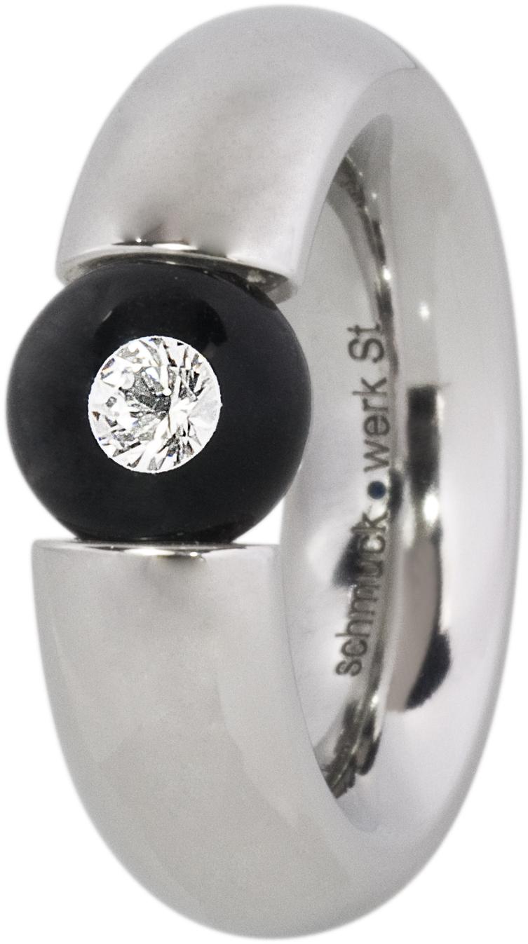 Bague acier brossé, diamant flottant dans une perle de verre
