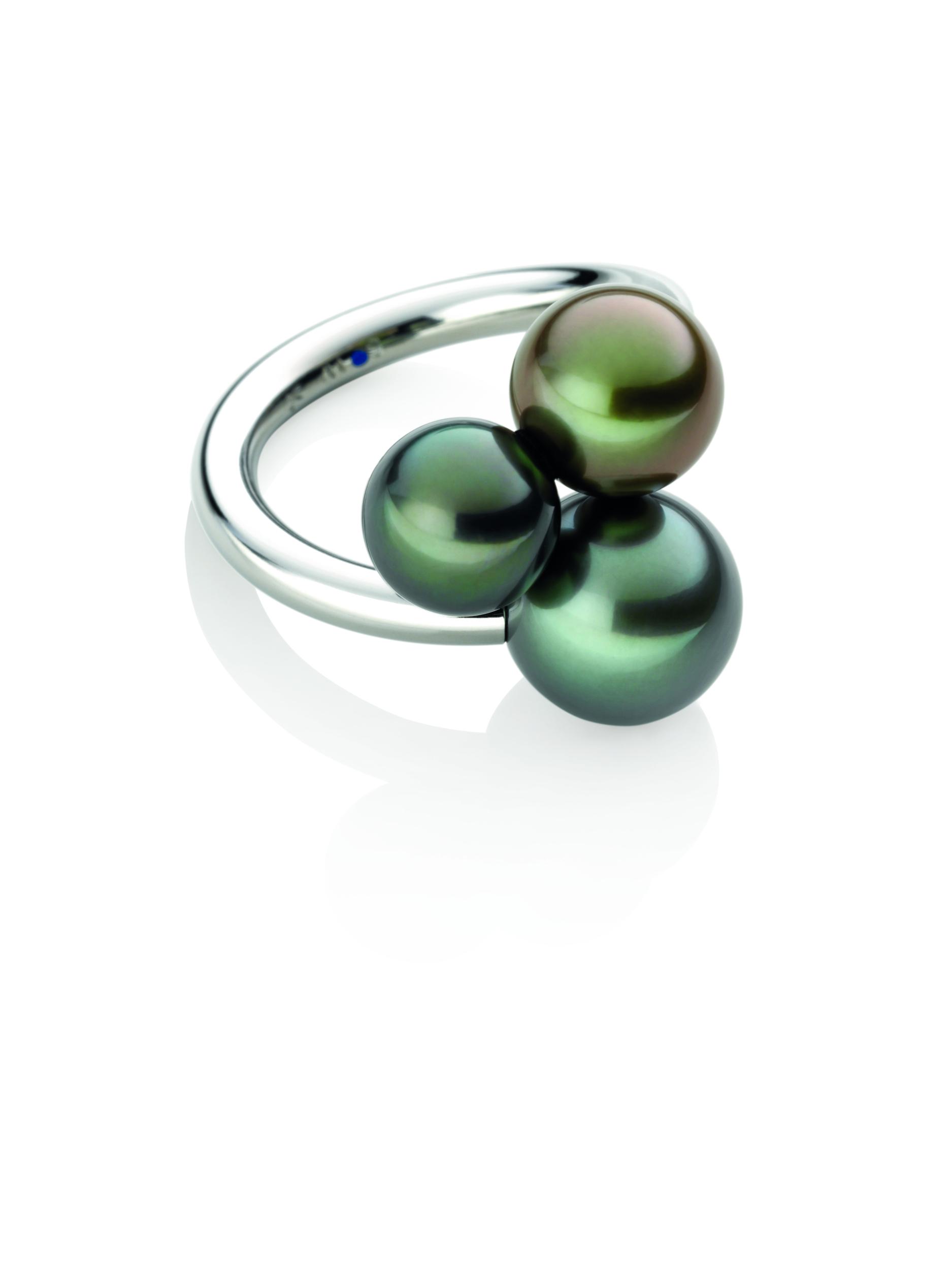Bague acier poli 3 perles de Tahiti multicolores