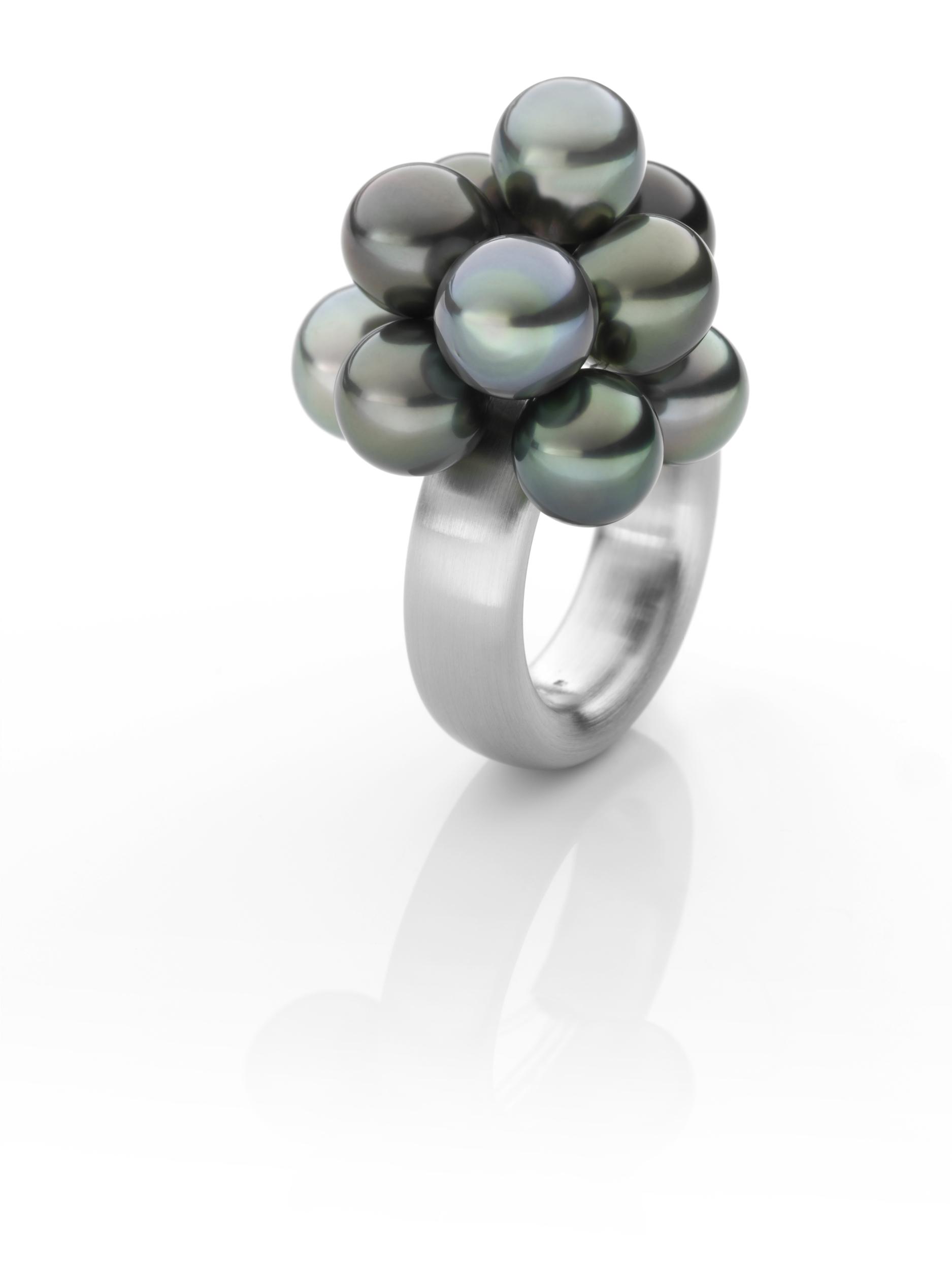 Bague BLACK CLOUD acier brossé 10 perles de Tahiti