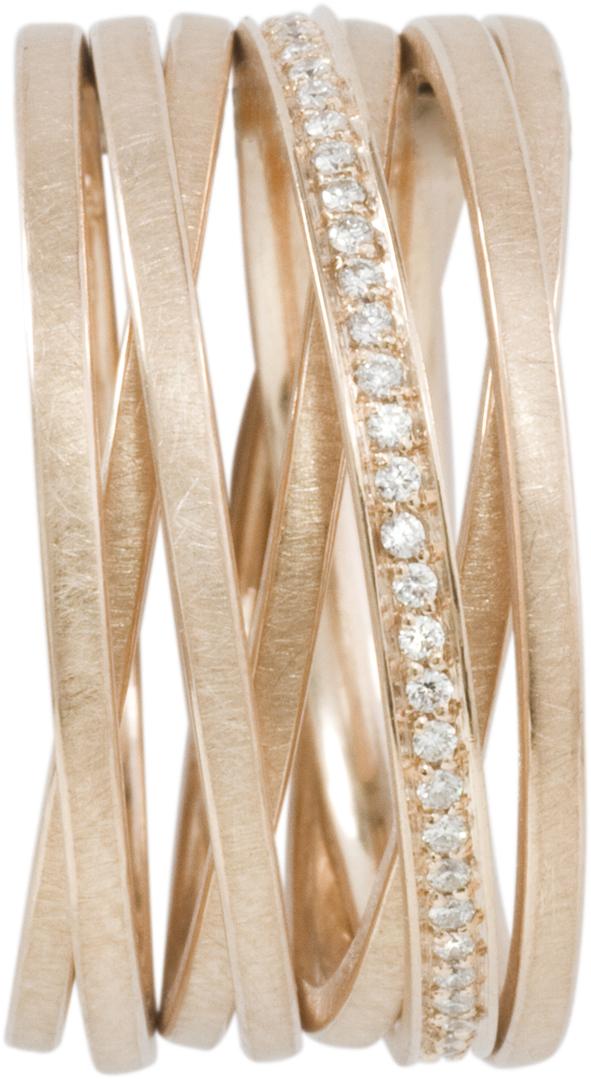 Bague chaine 7 anneaux or rose et diamants