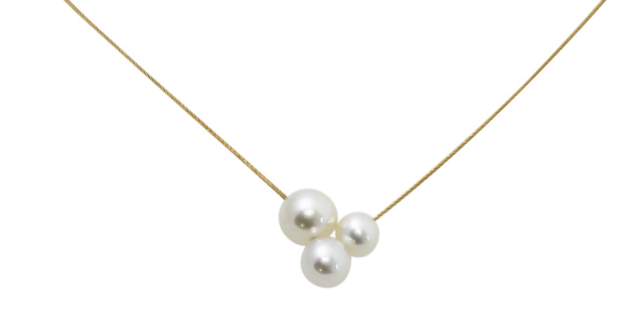 Collier câble or jaune 18 carats 3 perles blanches d\'eau douce