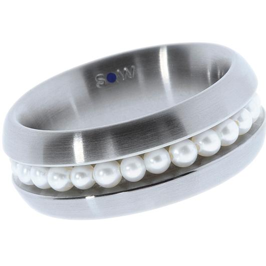 Bague en acier brossé, 25 perles blanches d\'eau douce de 3 mm