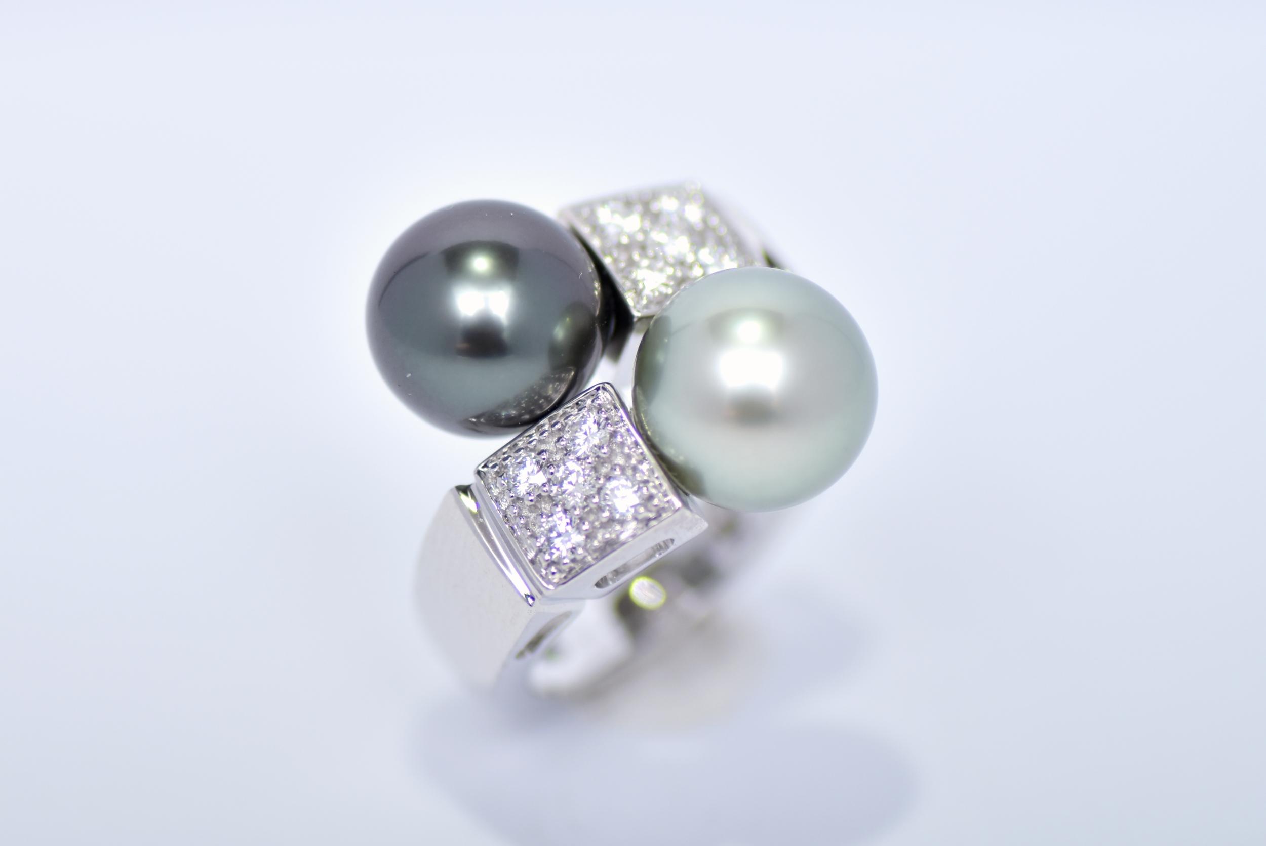 Bague toi et moi perles de Tahiti et diamants