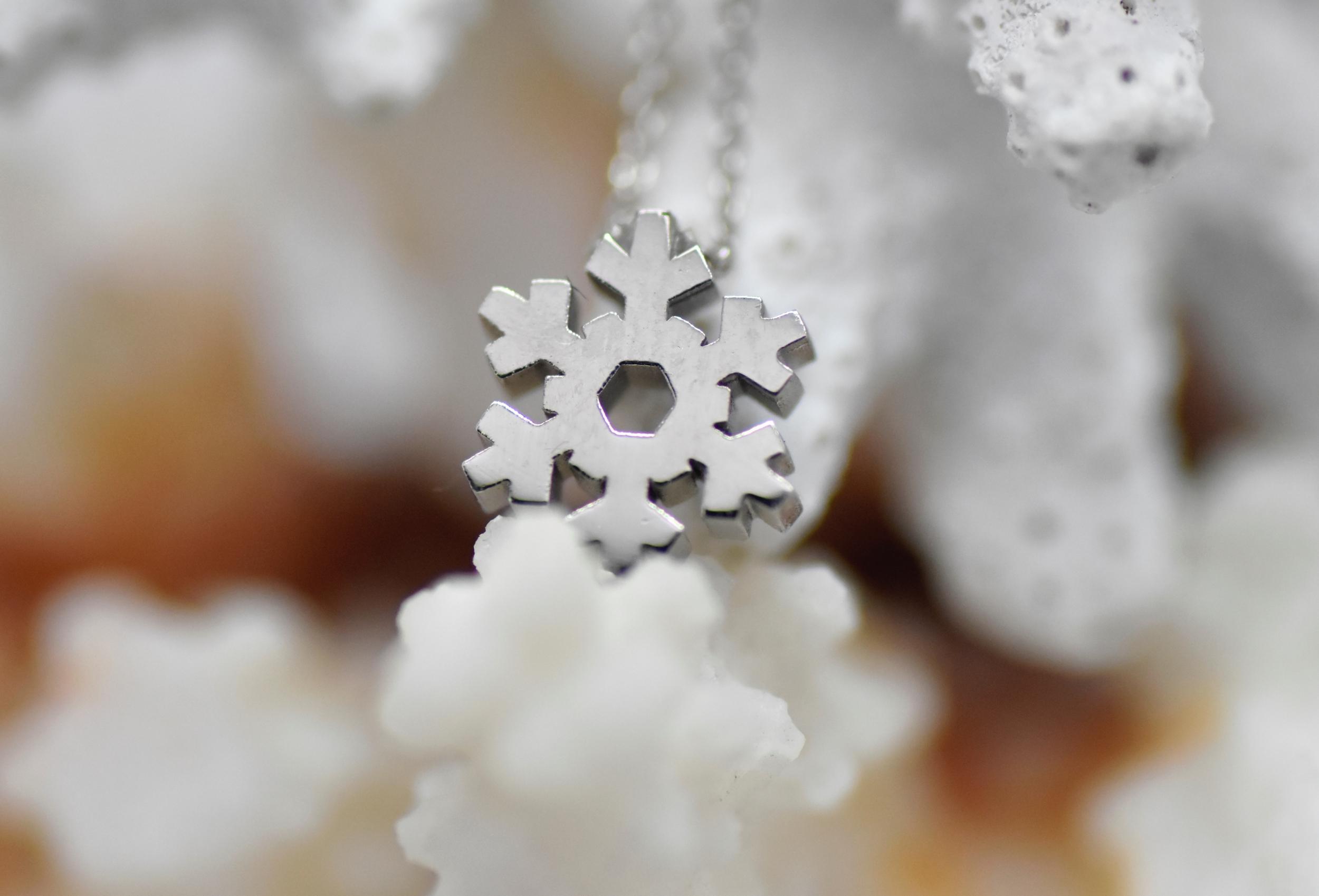 Pendentif flocon de neige or blanc