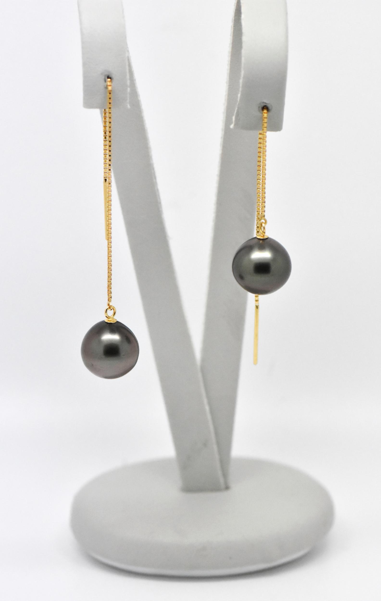 Boucles d\'oreilles Chainettes or jaune 18 carats 2 perles de Tahiti