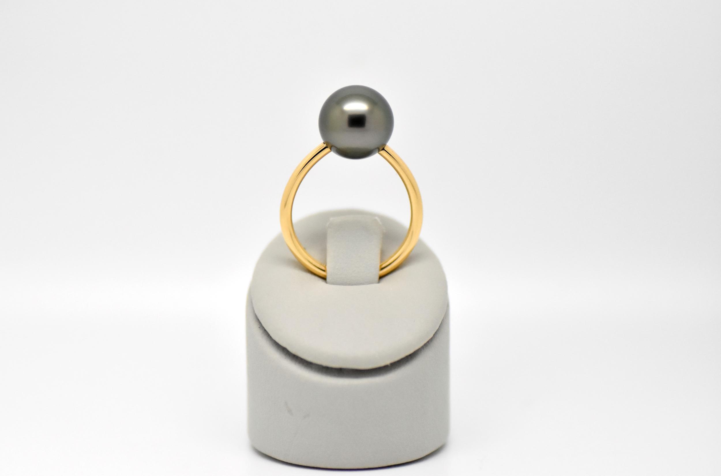 Bague essentiel en or jaune 1 perle de Tahiti de 10 mm