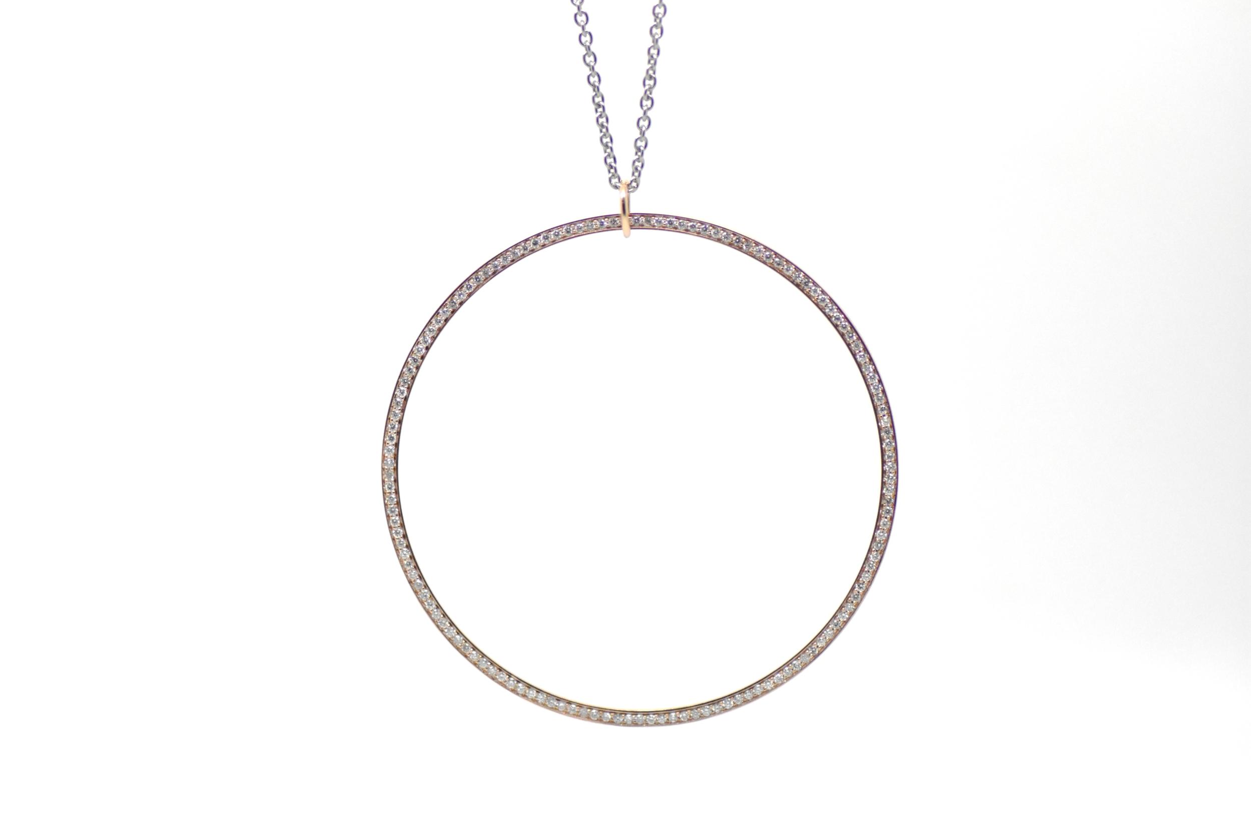Pendentif SATURN grand anneau rose et diamants