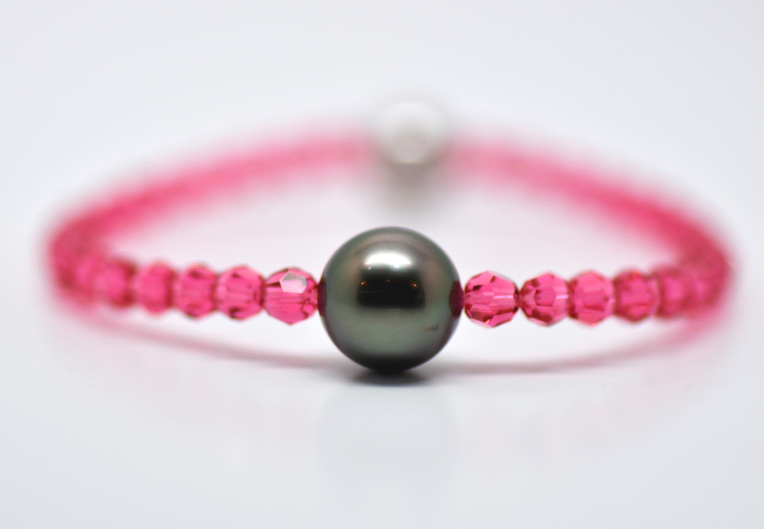 Bracelet Manhattan perles swarovski couleur indian pink et 1 perle de Tahiti