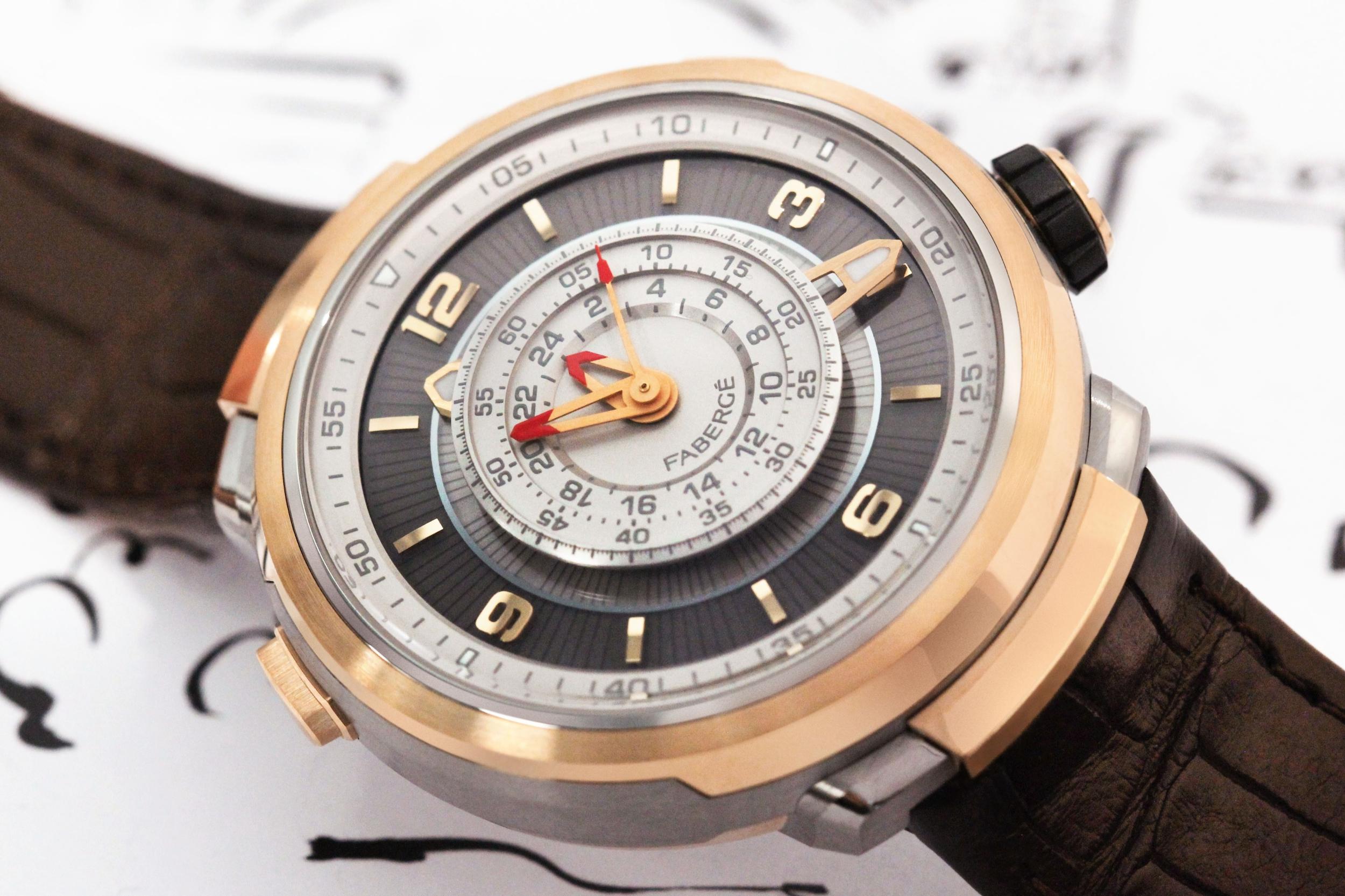 Montre Fabergé Visionnaire chronographe or rose 18 carats
