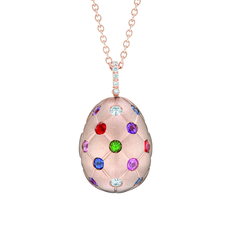 Pendentif oeuf Fabergé collection Treillage en or rose 18 carats et pierres multicolors