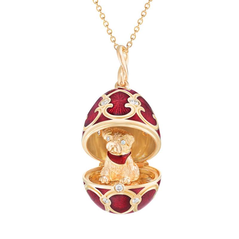 Pendentif oeuf Locket Fabergé Palais Tsarskoye Selo rouge avec chien surprise