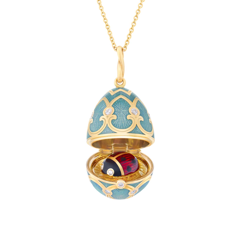 Pendentif oeuf Locket Fabergé Palais Tsarskoye Selo turquoise avec coccinelle surprise