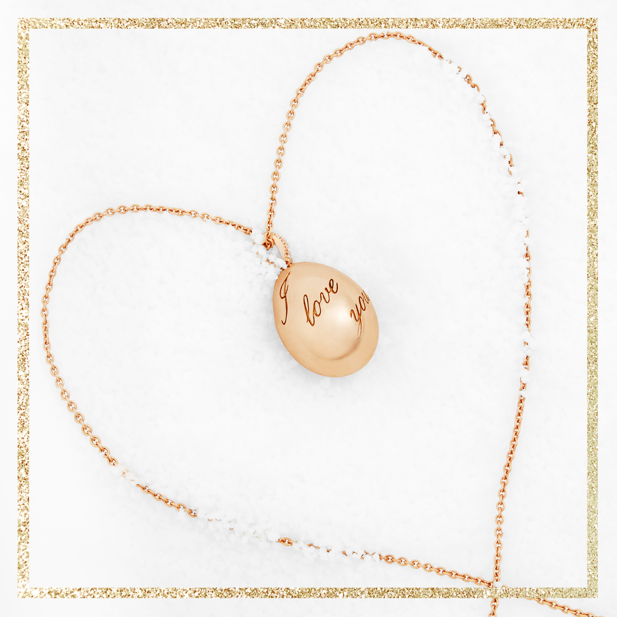COLLECTION IMPERIALE PENDENTIF OEUF FABERGÉ I LOVE YOU EN OR ROSE