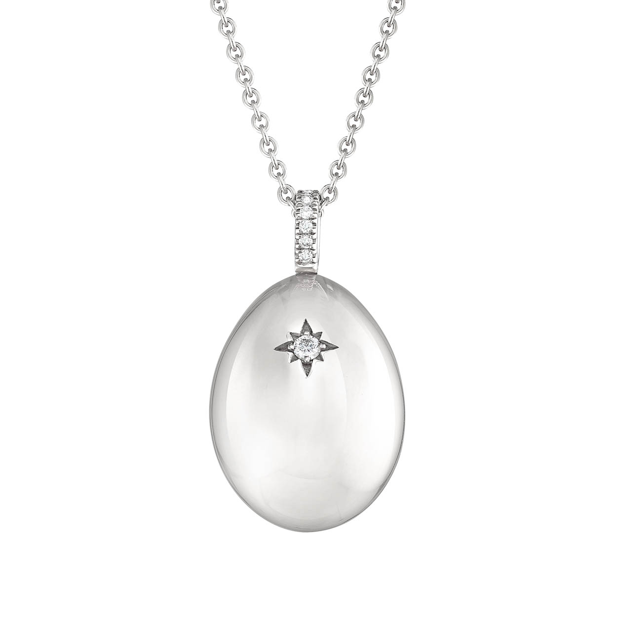 COLLECTION IMPERIALE PENDENTIF OEUF FABERGÉ  I LOVE YOU EN OR BLANC