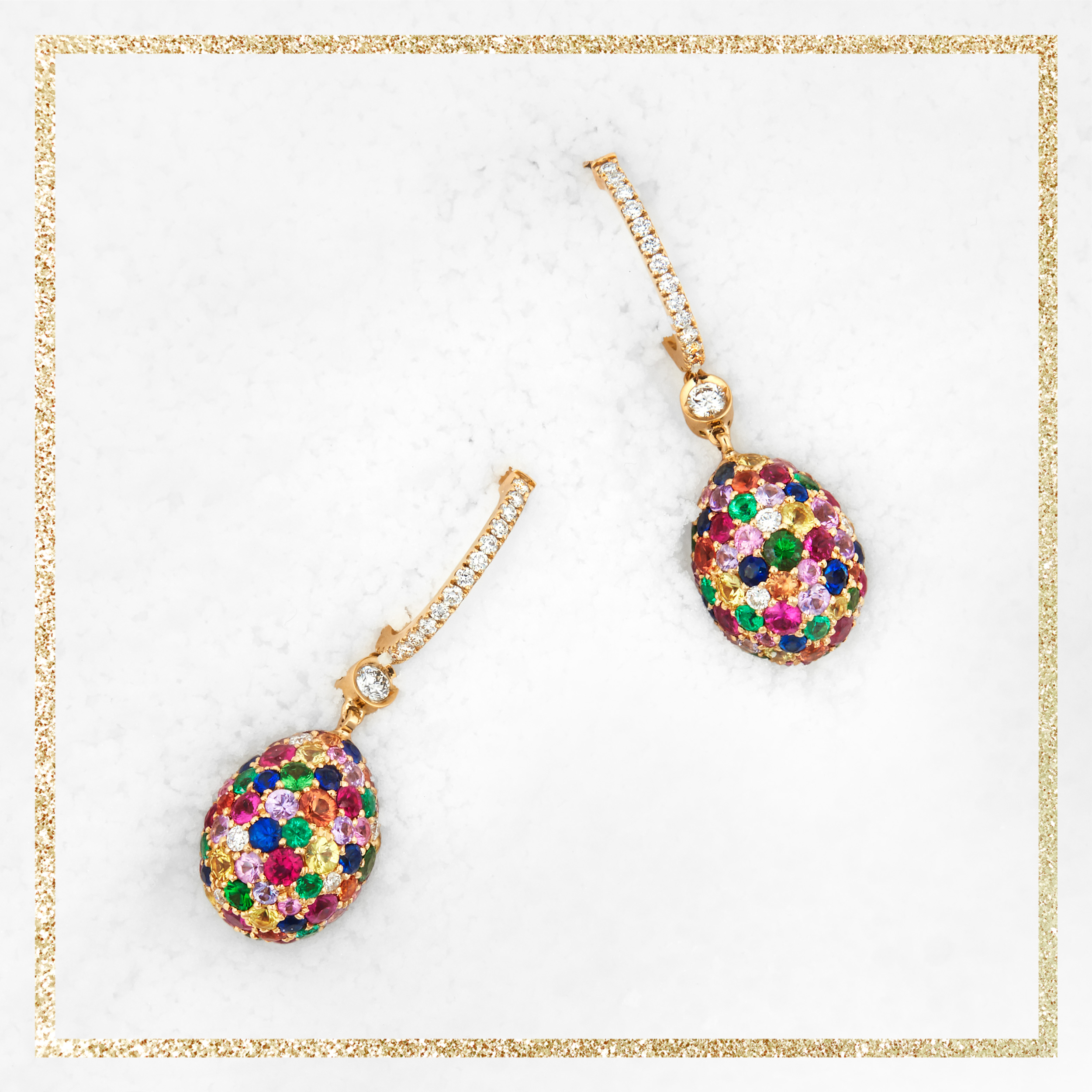 COLLECTION EMOTION MULTICOLOR PENDANTS D\'OREILLES OEUFS FABERGÉ