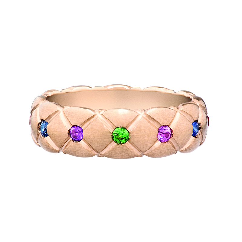 COLLECTION TREILLAGE EN OR ROSE ET PIERRES MULTICOLOR BAGUE FINE FABERGÉ