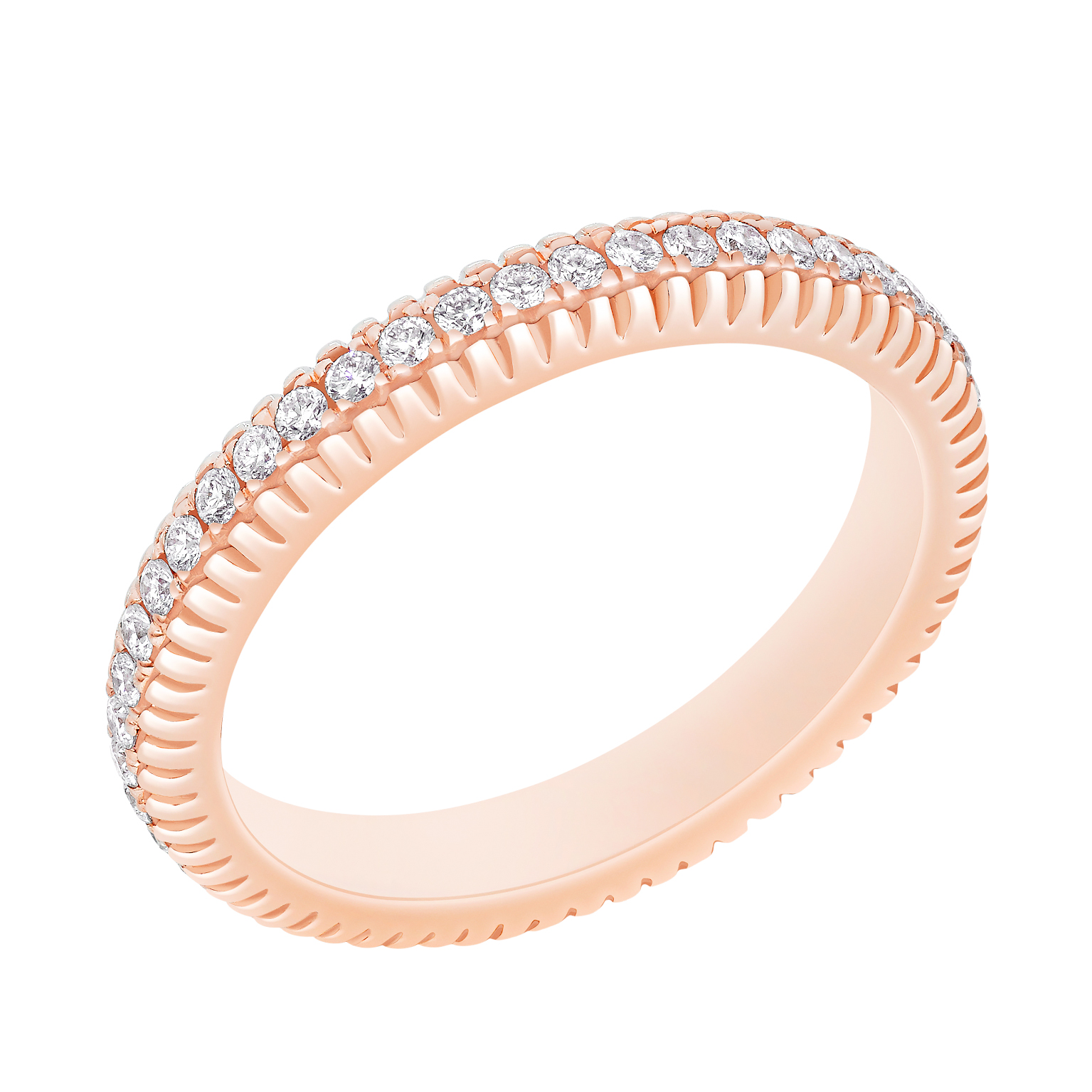 COLLECTION THREE COLOURS OF LOVE BAGUE DIAMANTS FLUTED BAND ROSE
