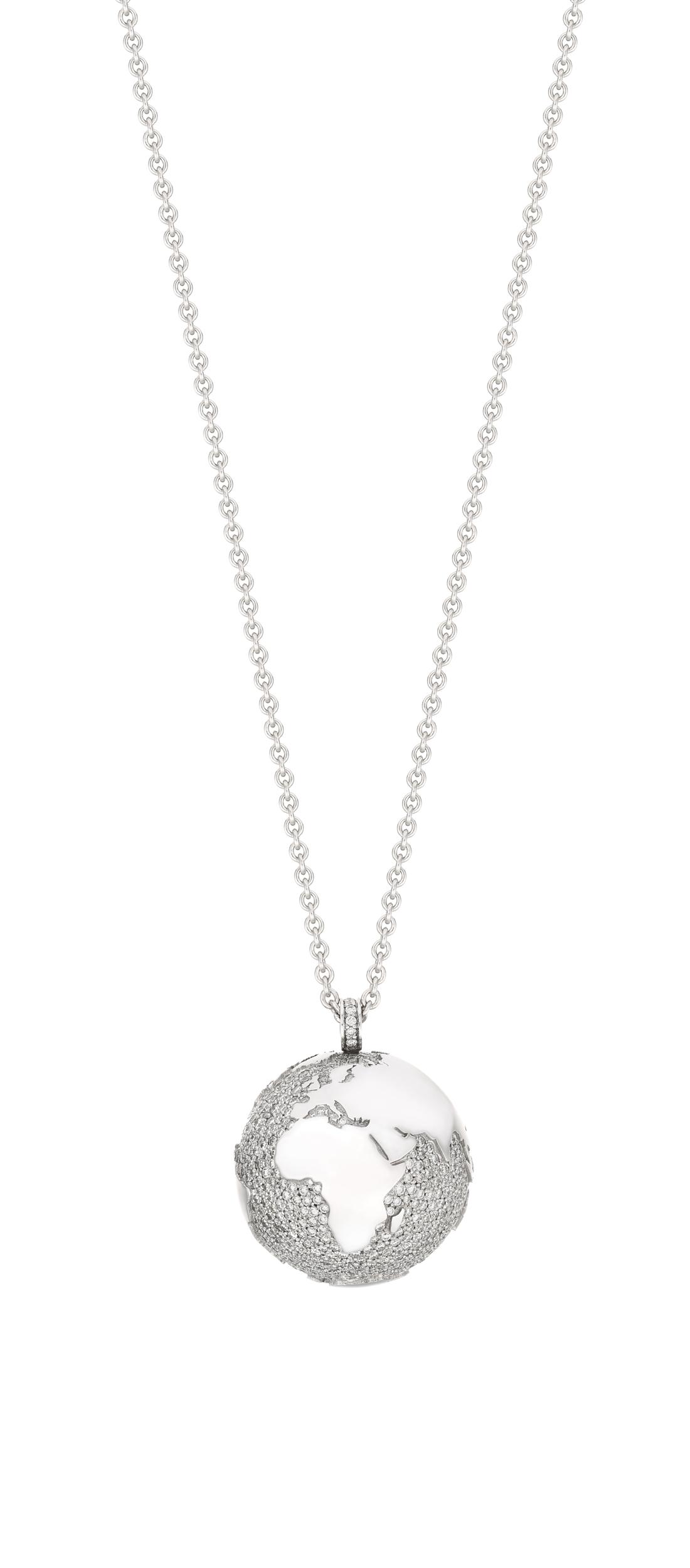 Collier MY WORLD 23 mm or blanc et diamants chaine 90 cm édition limitée