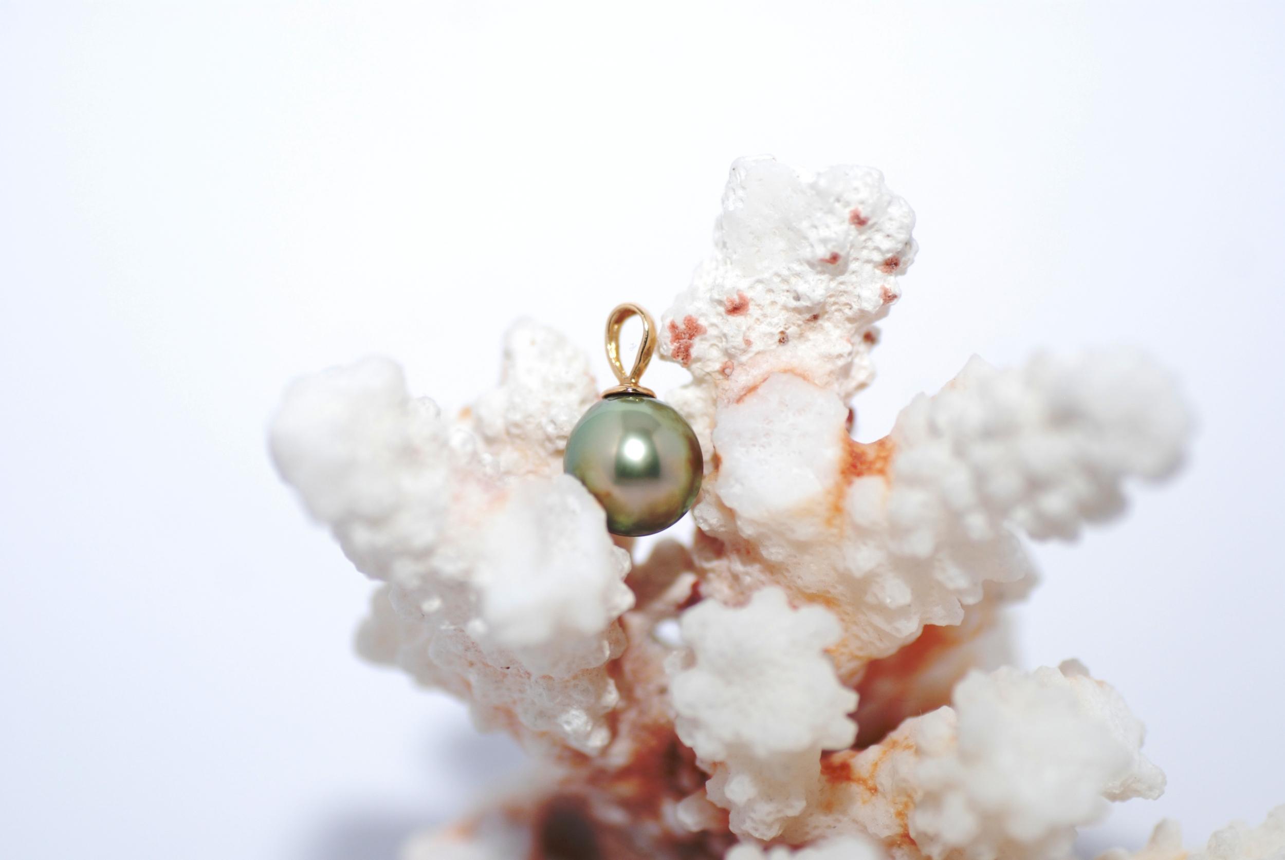 Pendentif 1 perle de Tahiti couleur vert pistache