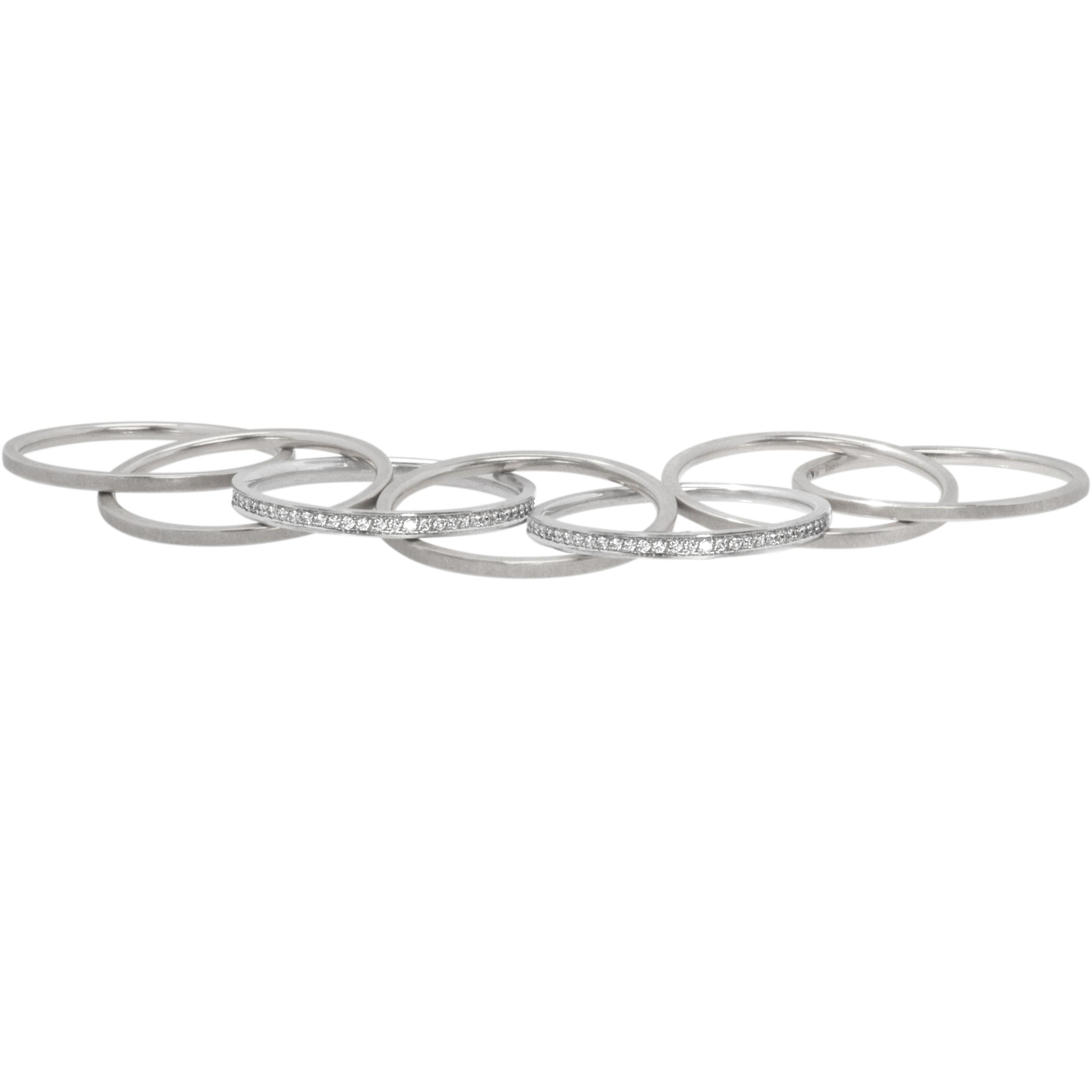 Bague chaine 5 anneaux platine et diamants