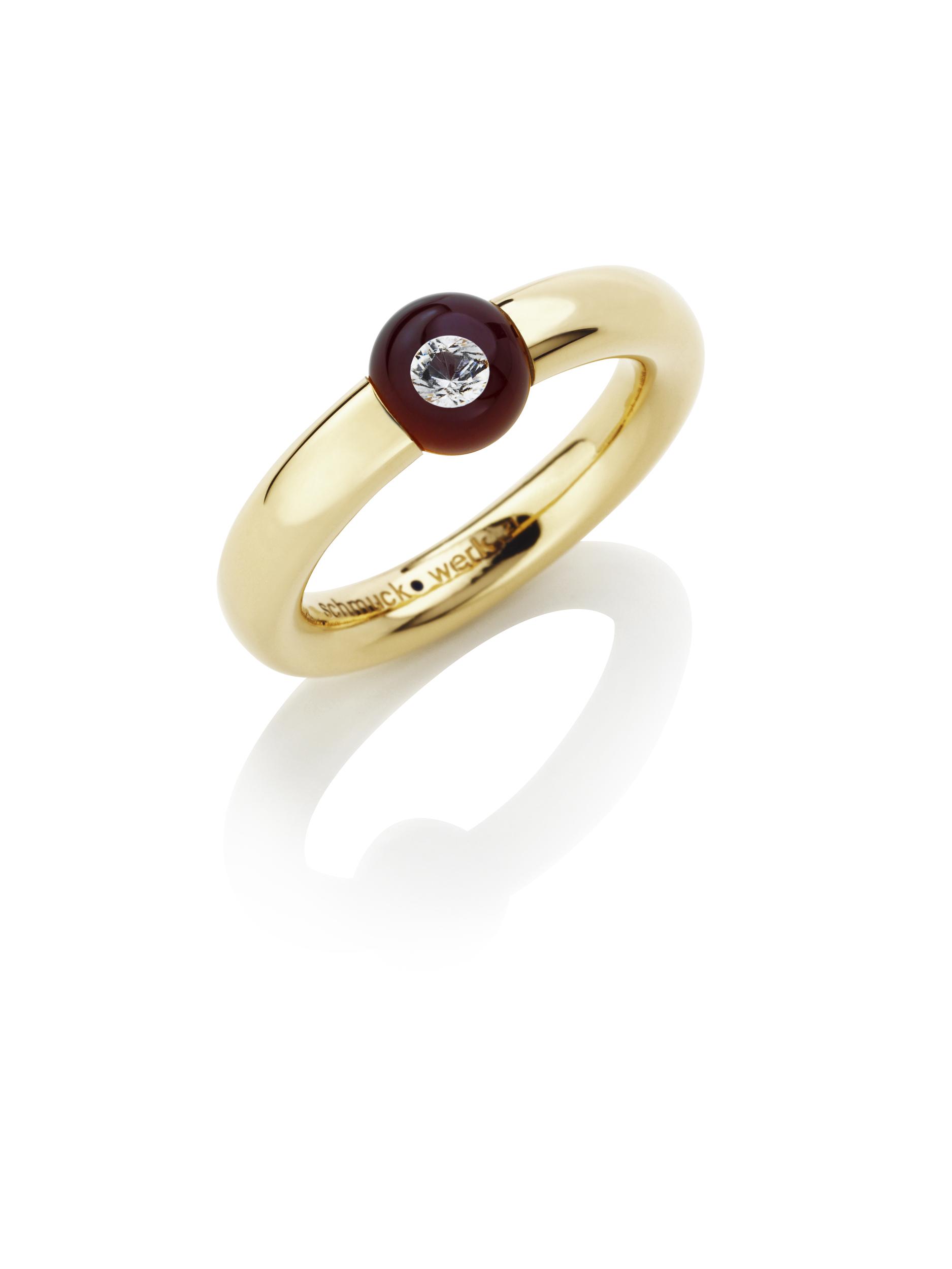 Bague or rose 18k, diamant flottant dans une perle de verre DIAMOND IN GLASS