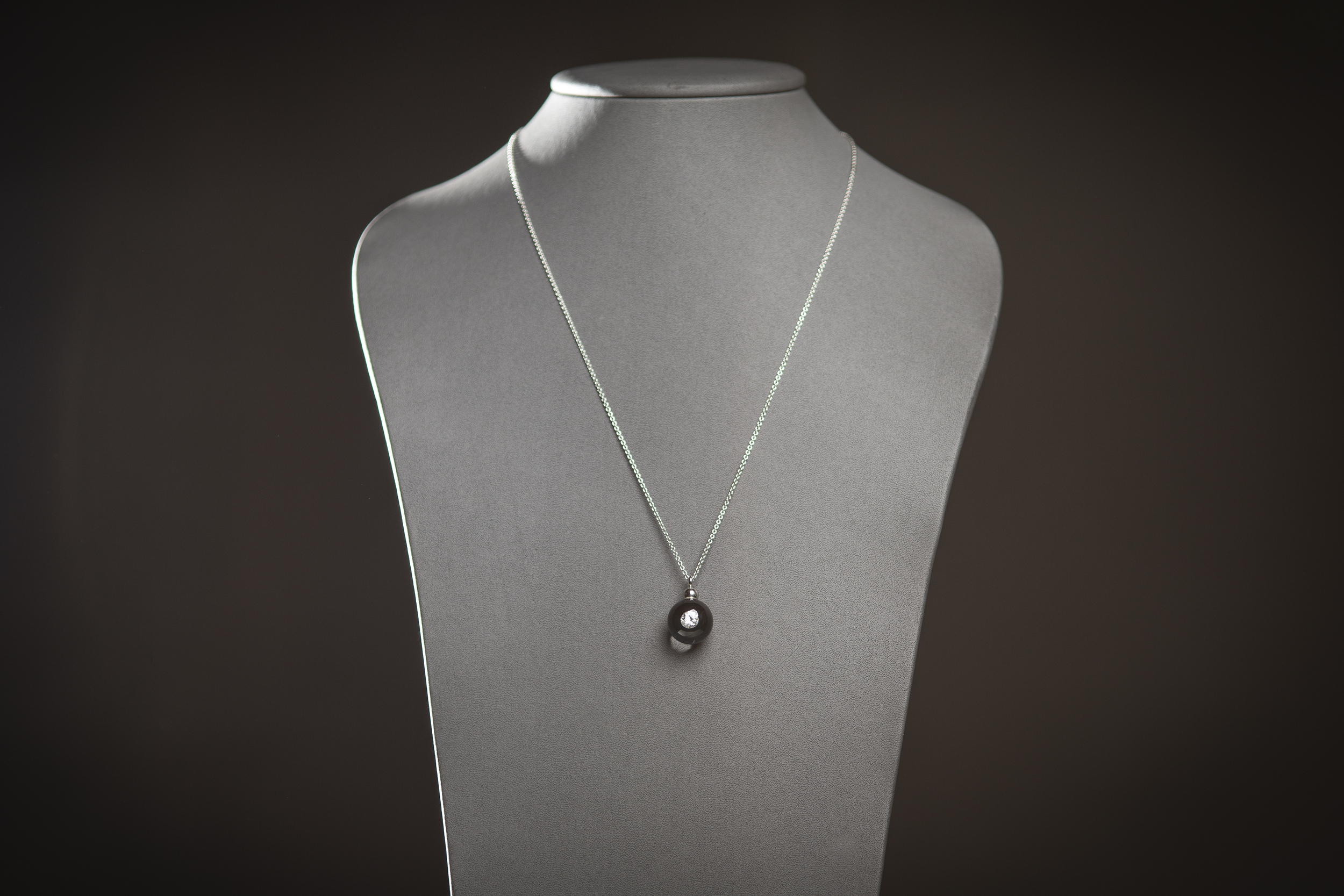 Collier 1 solitaire Diamond in Glass perle de 16 mm