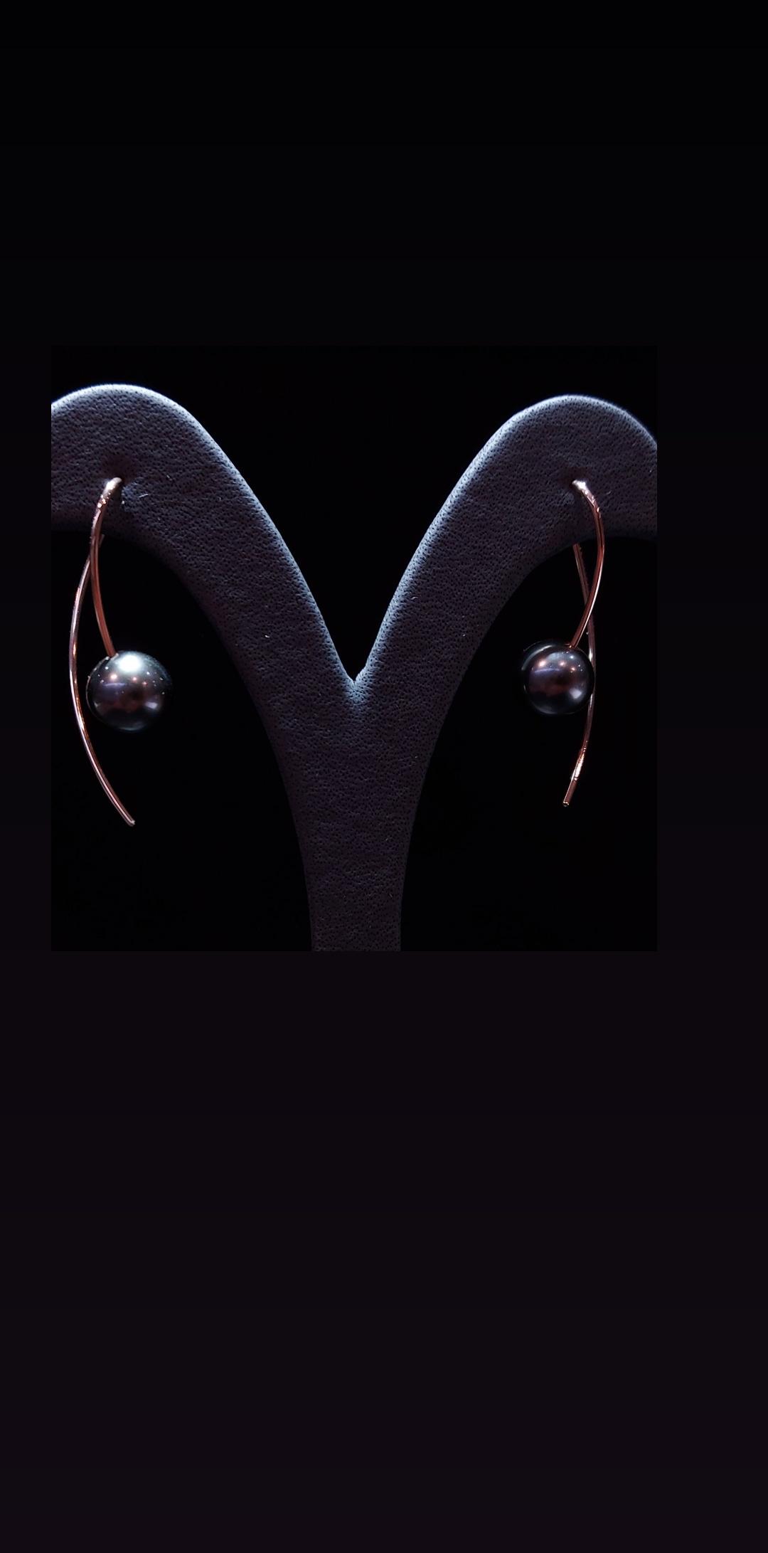 Pendants d\'oreilles COURBES en or rose 2 perles de Tahiti