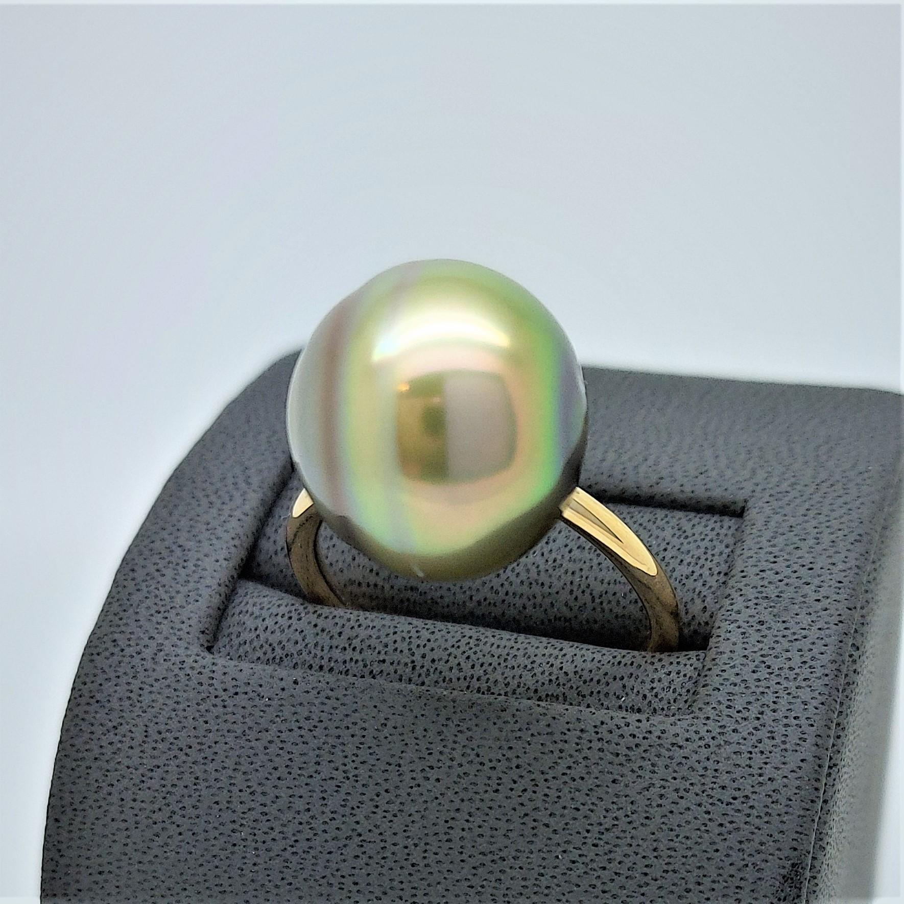 Bague essentiel en or jaune 1 perle de Tahiti de 14 mm