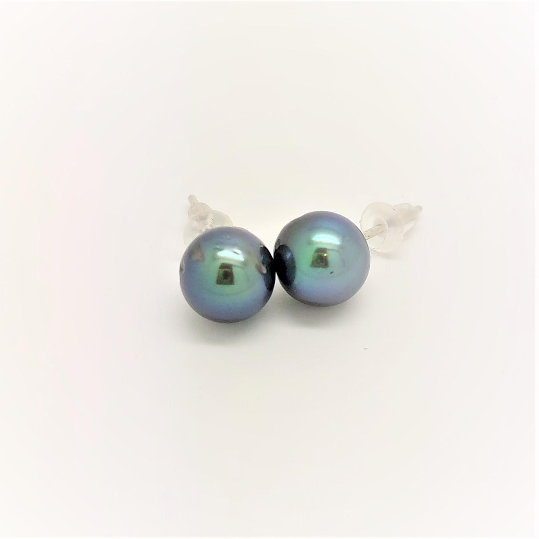 Boutons d\'oreilles 2 perles de Tahiti de 9mm couleur bleue vert océan