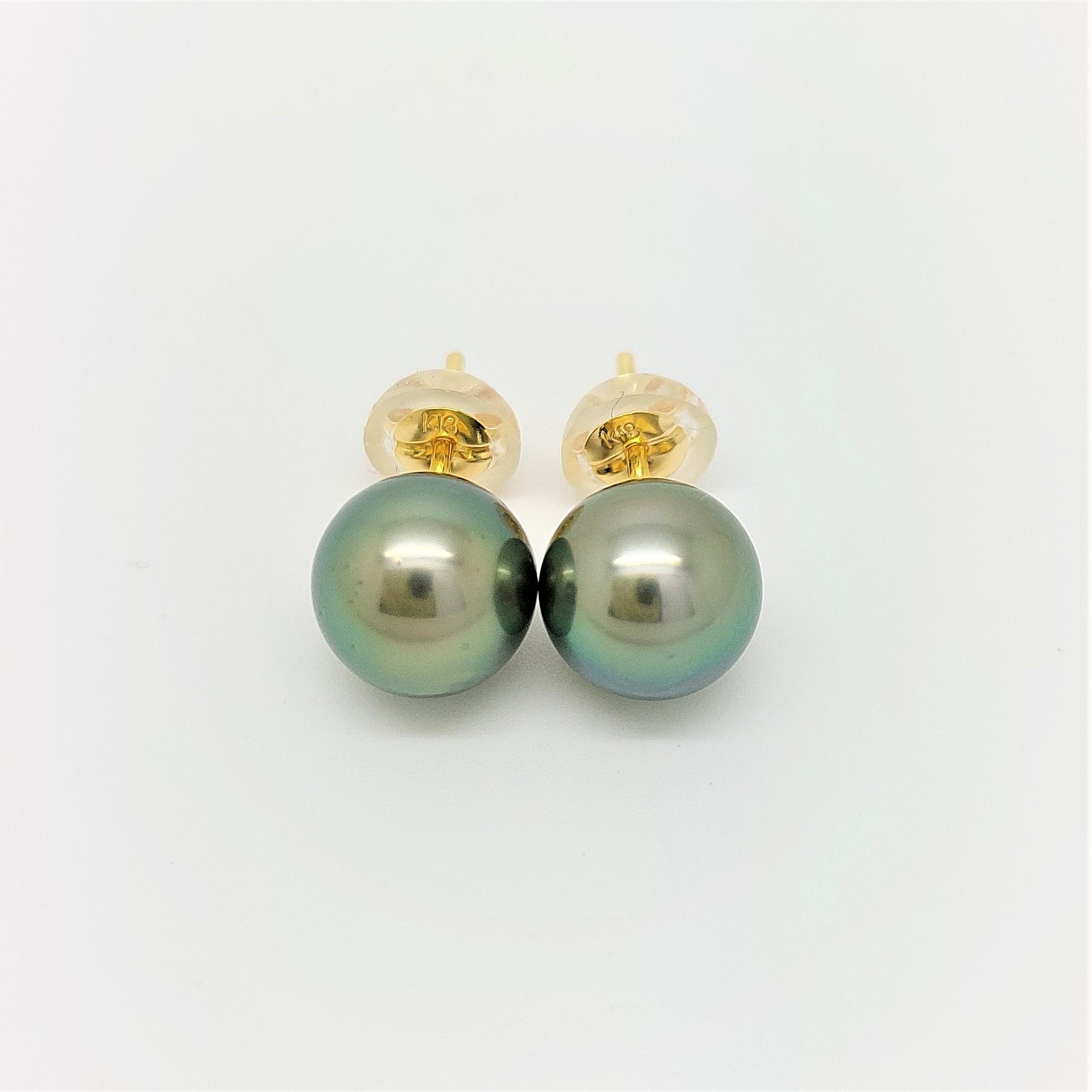 Boutons d\'oreilles 2 perles de Tahiti de 8mm couleur vert tropical