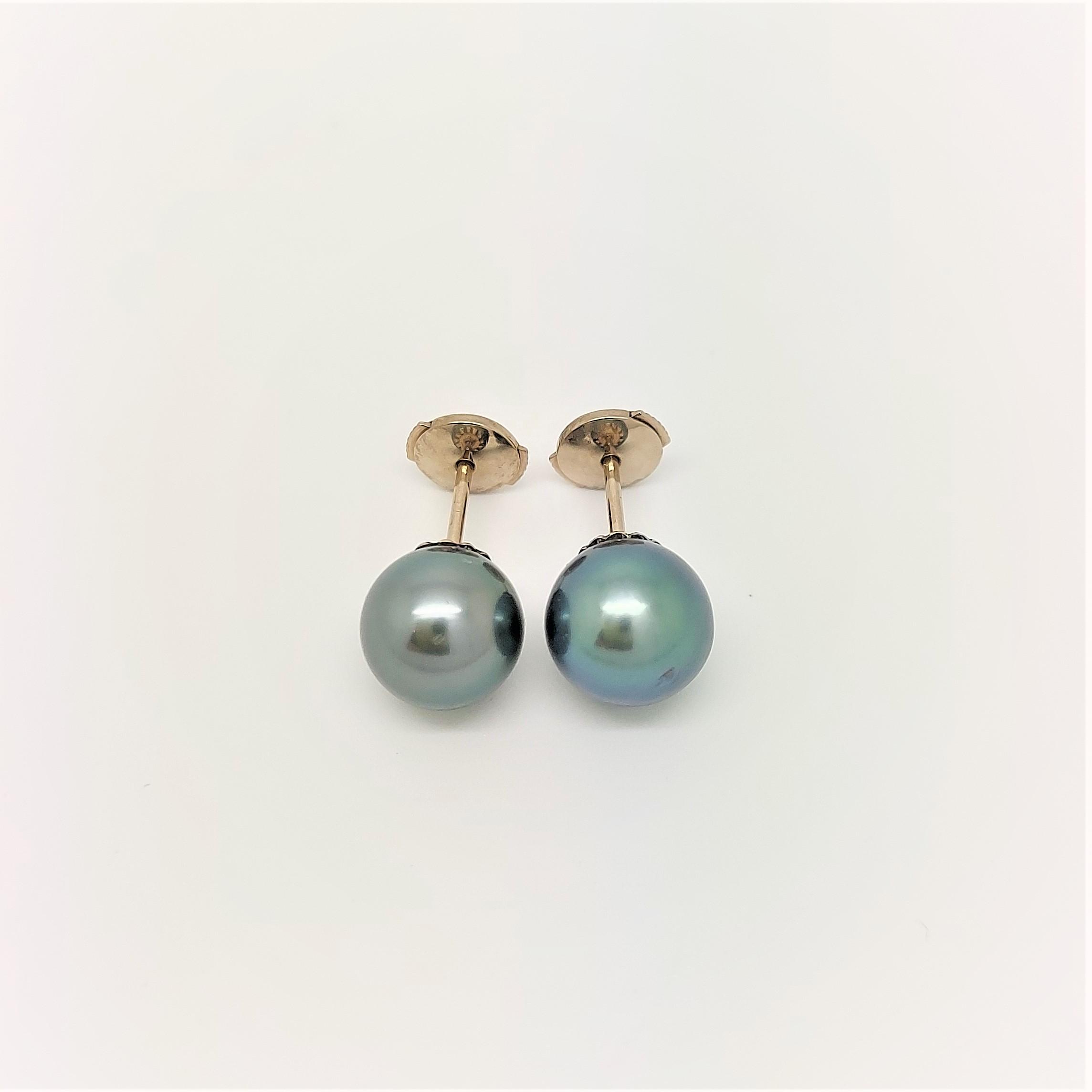 Boutons d\'oreilles 2 perles de Tahiti de 8 mm couleur bleu océan