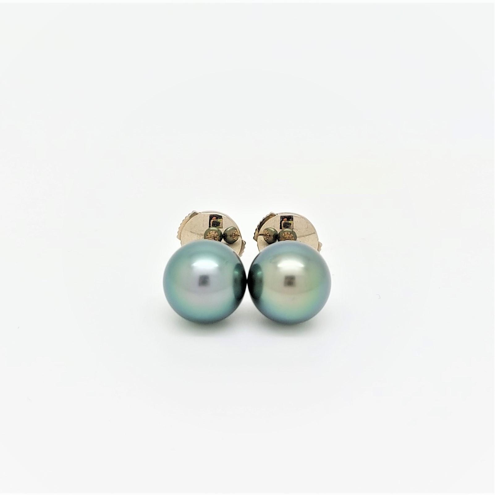 Boutons d\'oreilles 2 perles de Tahiti de 8 mm couleur vert tropical