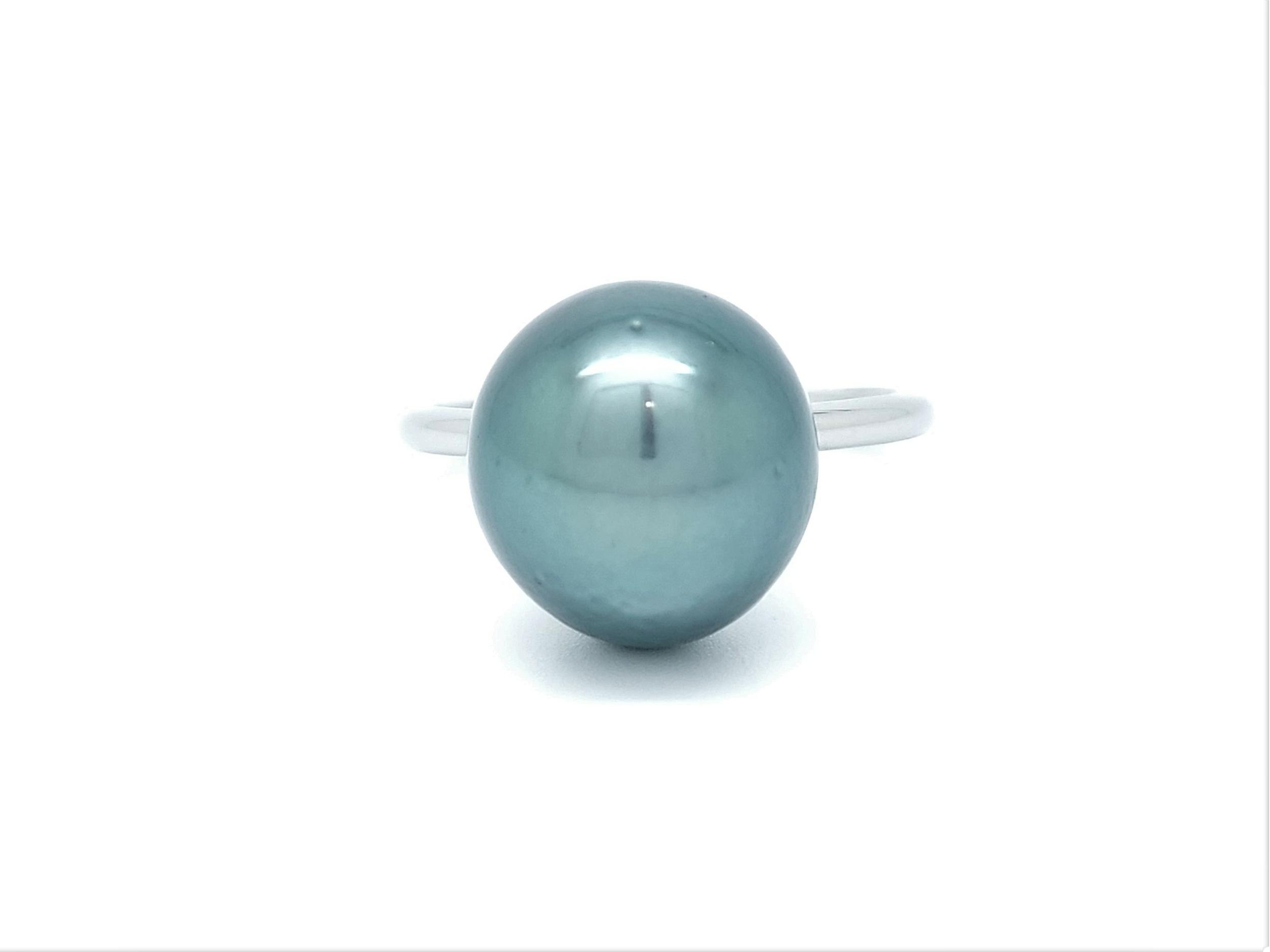 Bague essentiel en acier 1 perle de Tahiti de 12 mm de couleur bleu vert lagon