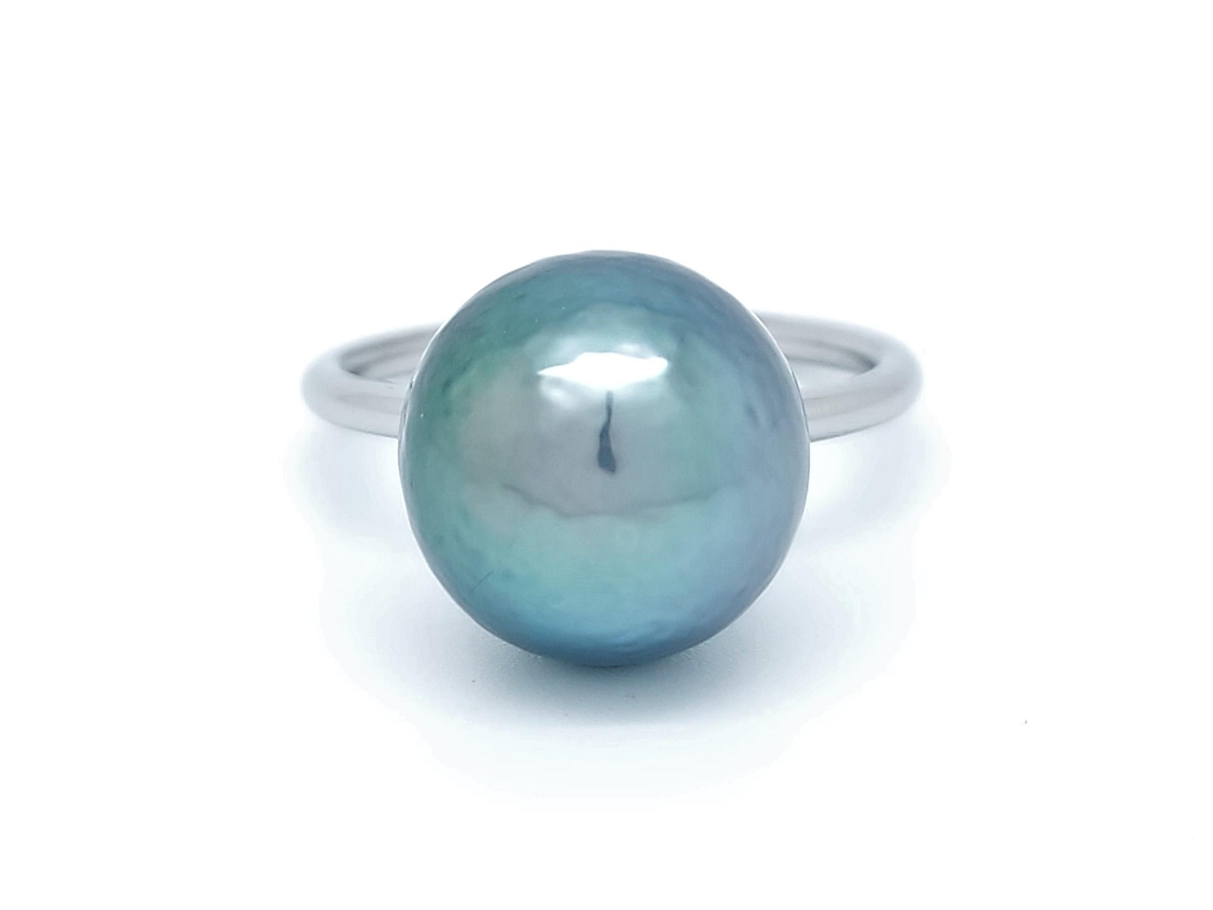 Bague essentiel en acier 1 perle de Tahiti de 12 mm de couleur arc-en-ciel