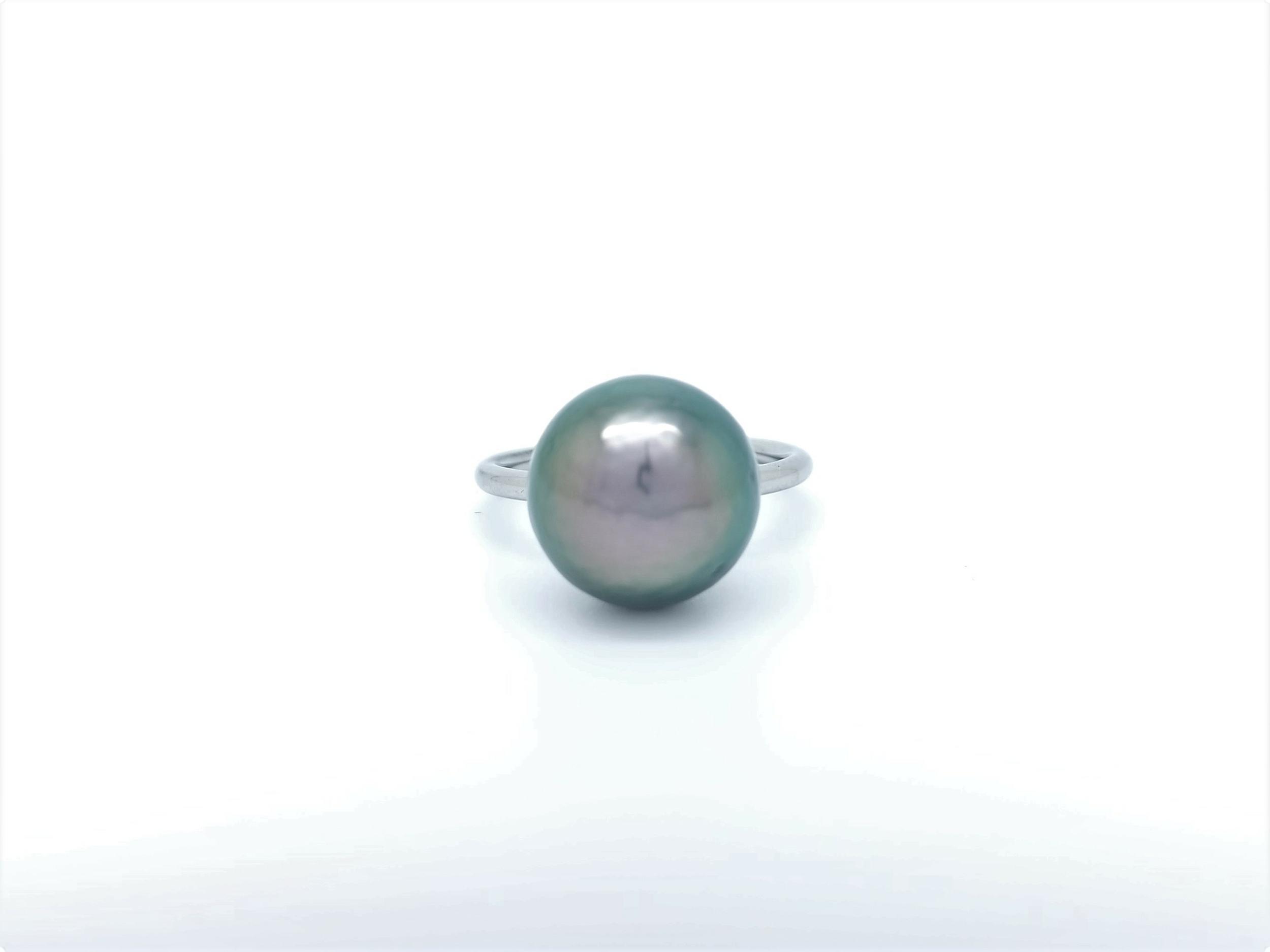 Bague essentiel en acier 1 perle de Tahiti de 13 mm de couleur queue-de-paon