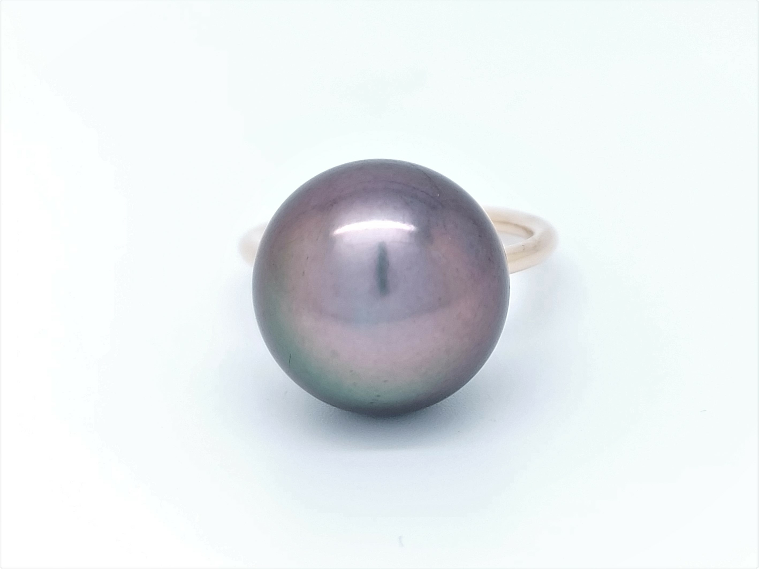 Bague essentiel en or rose 1 perle de Tahiti de 14 mm couleur cerise
