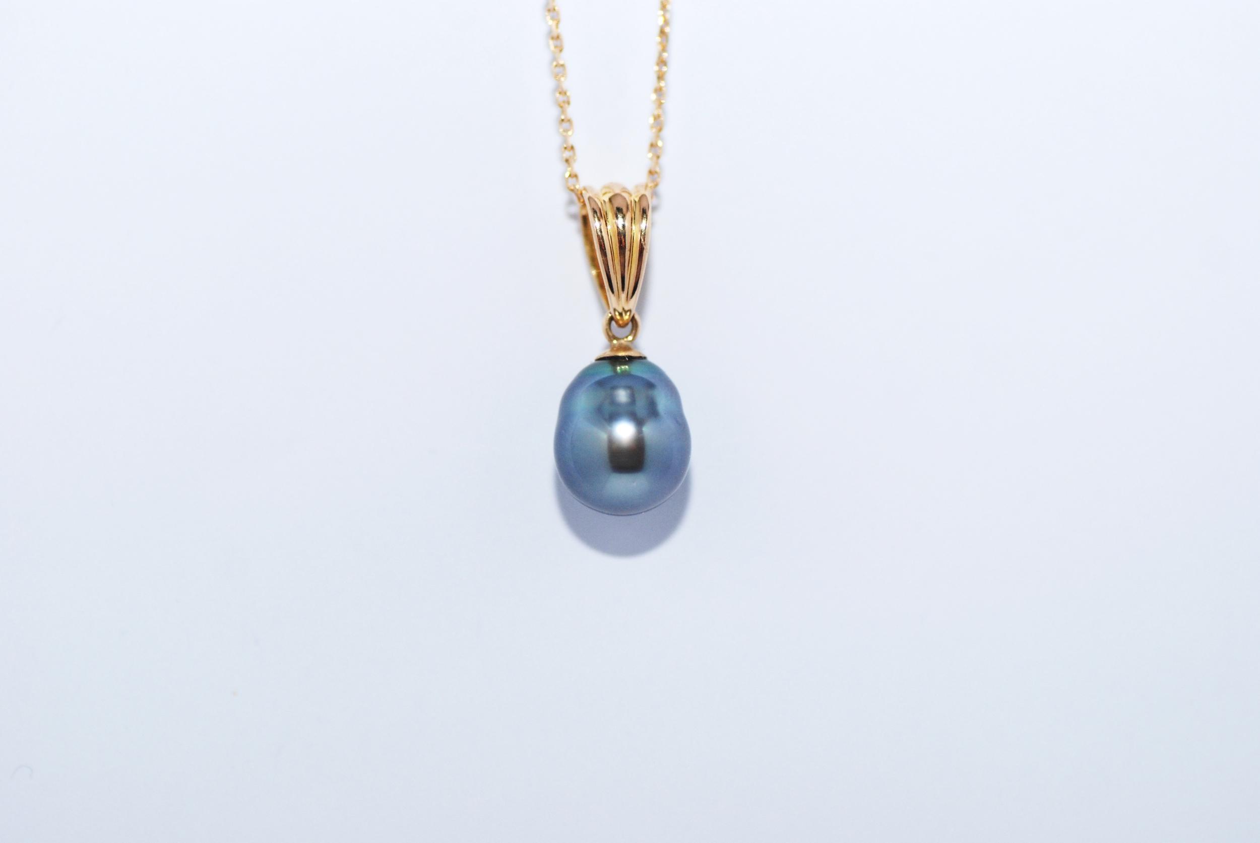 Pendentif 1 perle de Tahiti couleur bleu lagon