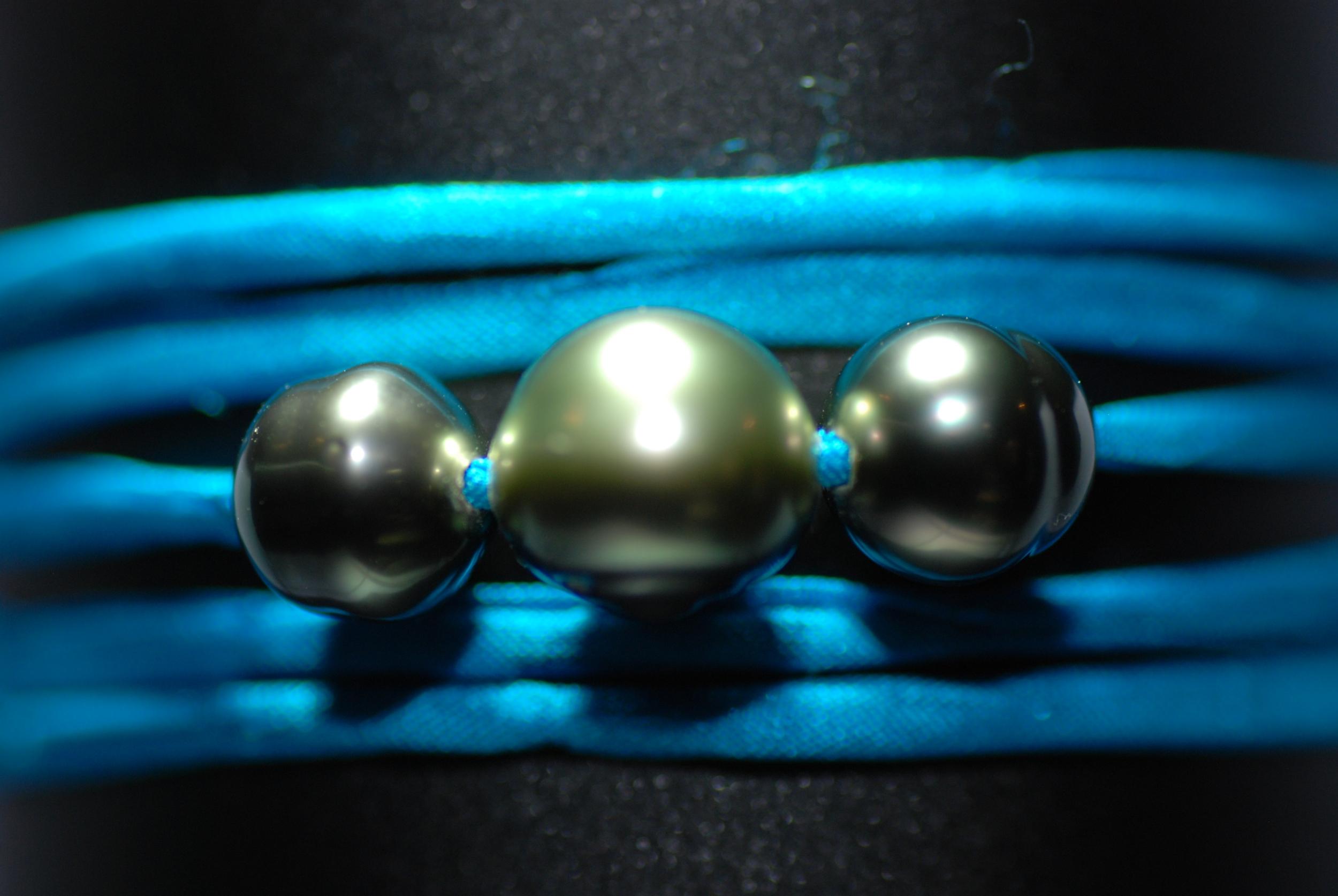 Bracelet Ibiza turquoise avec 3 perles de Tahiti