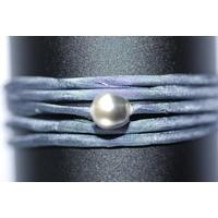 Bracelet Ibiza gris avec une perle de tahiti