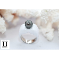 Bague Double-Coeur blanche et perle de tahiti