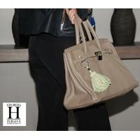 Ponpon Vert pastel et perle de tahiti  (3)