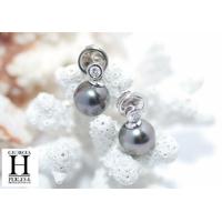 Boucles d'oreilles Brillants or blanc et perles de tahiti