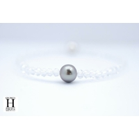 "Bracelet ""Manhattan""Cristaux et perle de tahiti vert rosé"