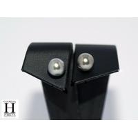 Boucles d'oreilles Boutons perles de tahiti Pistache (6)