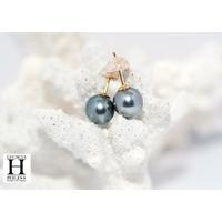 Boucles d'oreilles Boutons  perles de tahiti vert rosé